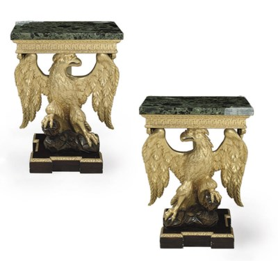 A PAIR OF GILTWOOD AND PAINTED