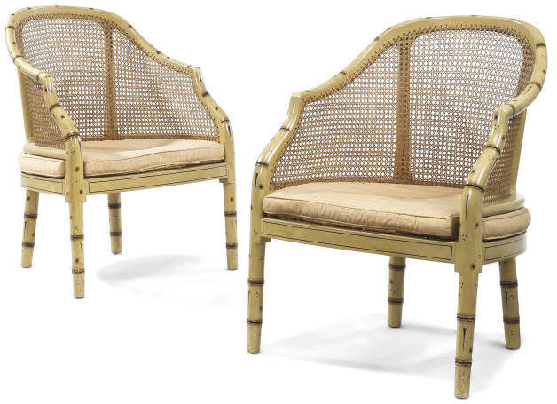 A PAIR OF SIMULATED BAMBOO AND