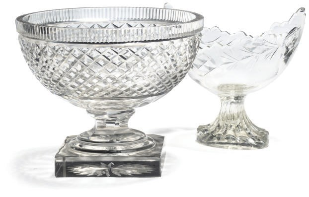 TWO CLEAR CUT-GLASS BOWLS