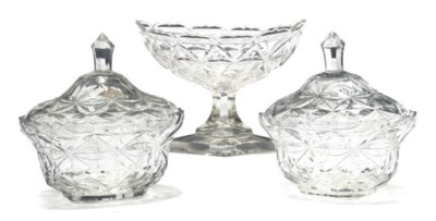 TWO CONTINENTAL CUT GLASS OVAL
