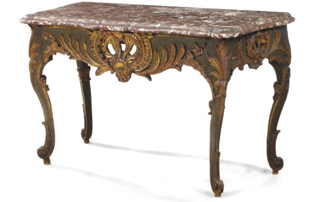 A LATE LOUIS XV GREEN-PAINTED