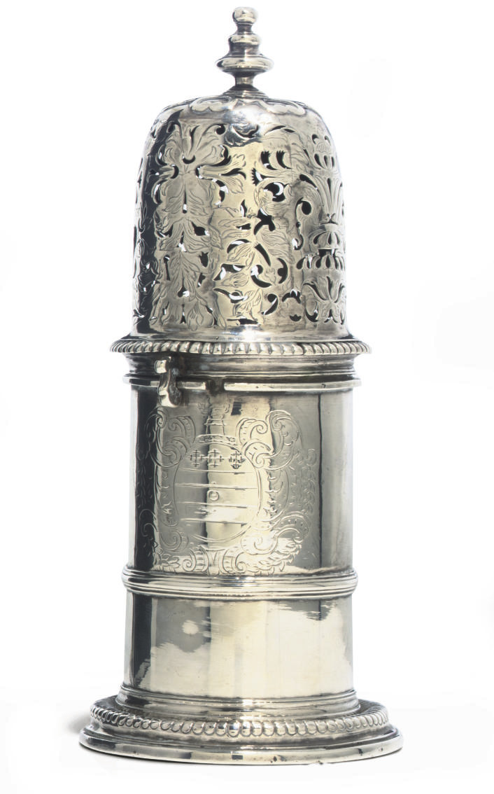 A QUEEN ANNE SILVER LIGHTHOUSE CASTER