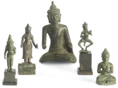 THREE KHMER BRONZE FIGURES