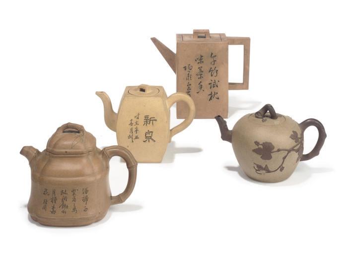 FOUR CHINESE YIXING TEAPOTS AN