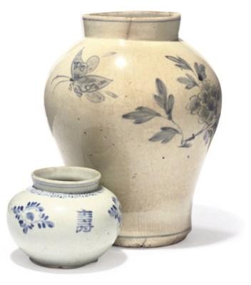 TWO KOREAN BLUE AND WHITE JARS