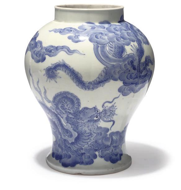 A KOREAN BLUE AND WHITE BALUST