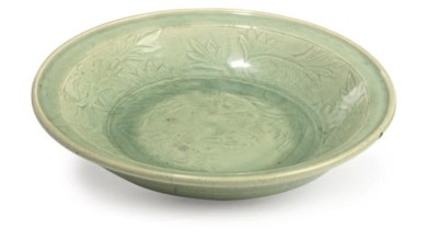 A CHINESE DEEP CELADON DISH
