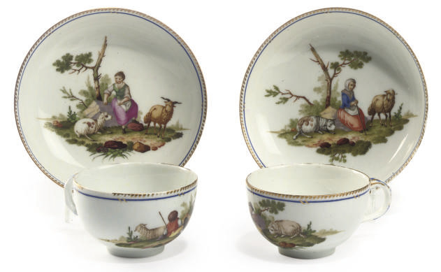 A PAIR OF BERLIN TEACUPS AND S