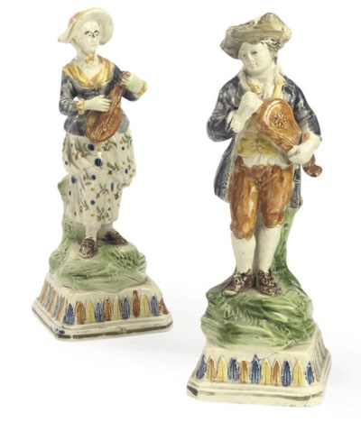 A PAIR OF ENGLISH PRATT WARE F