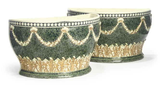 A PAIR OF WEDGWOOD PORPHRY WAR