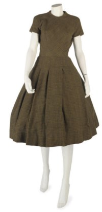 BALMAIN COUTURE, A GREEN CHECK WOOL ENSEMBLE, C 1954