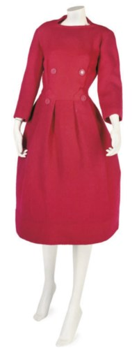 BALMAIN COUTURE, A CHERRY RED WOOL DAY DRESS