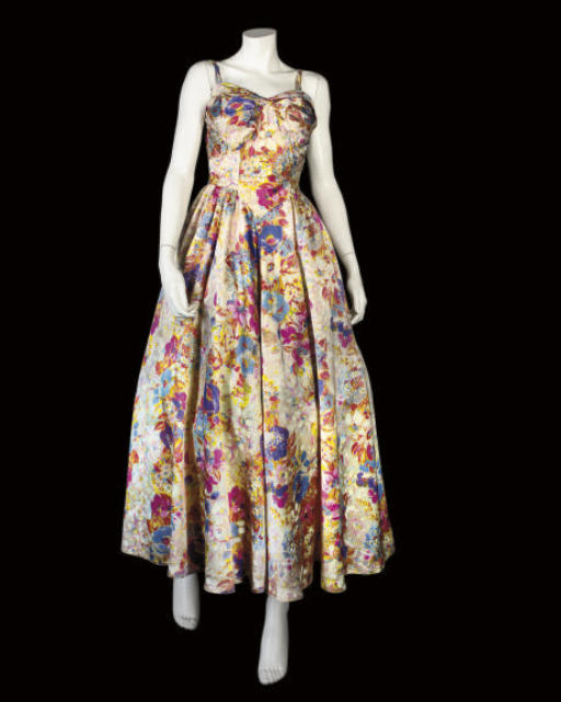 A SATIN EVENING DRESS, 1950S