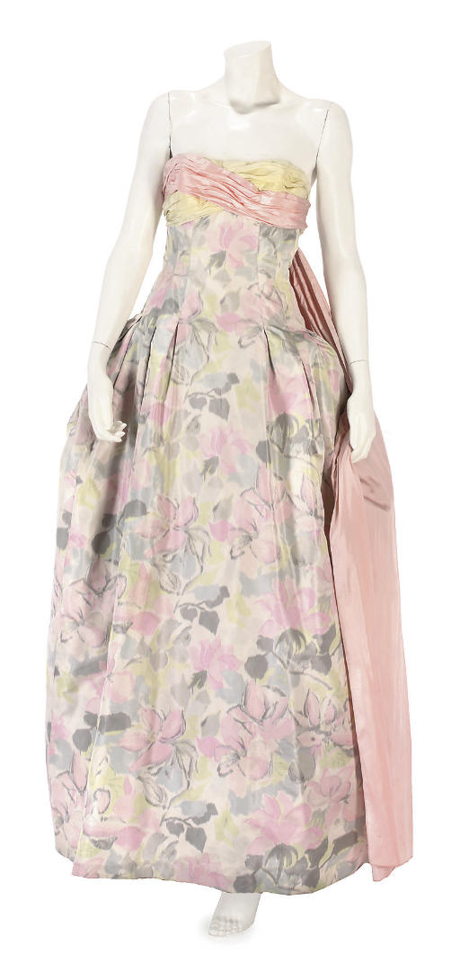 BALMAIN COUTURE, A SILK CHINE EVENING GOWN, LATE 1950S