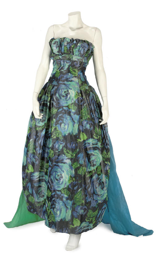 BALMAIN COUTURE, A TURQUOISE SILK CHINE GOWN