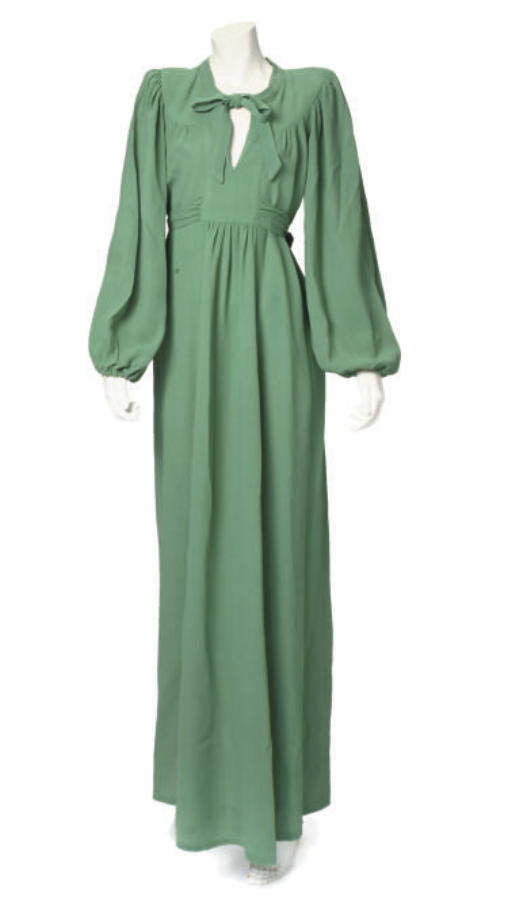 OSSIE CLARK, A GREEN CREPE GOWN