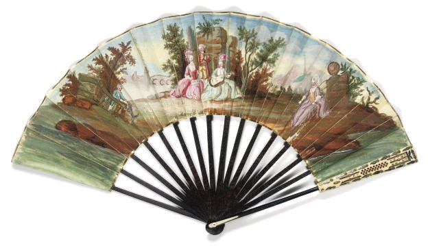 A FAN WITH IVORY AND WOOD STIC