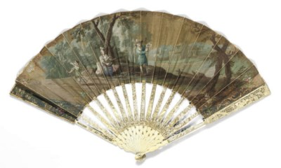 TWO IVORY FANS