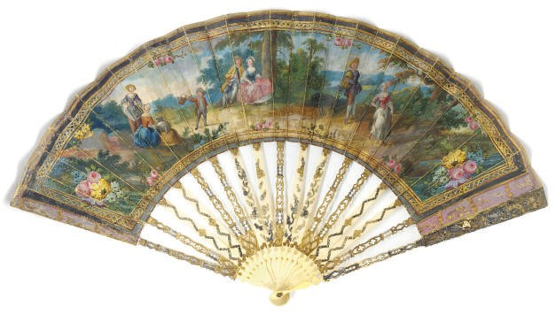 A FAN, THE LEAF PAINTED WITH F