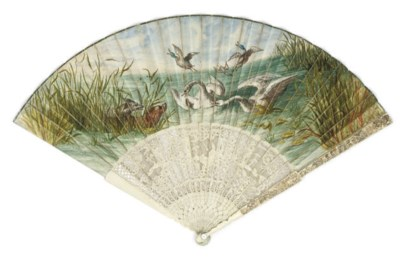 A FAN, THE LEAF PAINTED WITH A