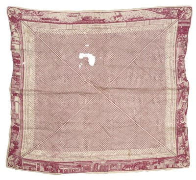 A PRINTED HANDKERCHIEF SHOWING