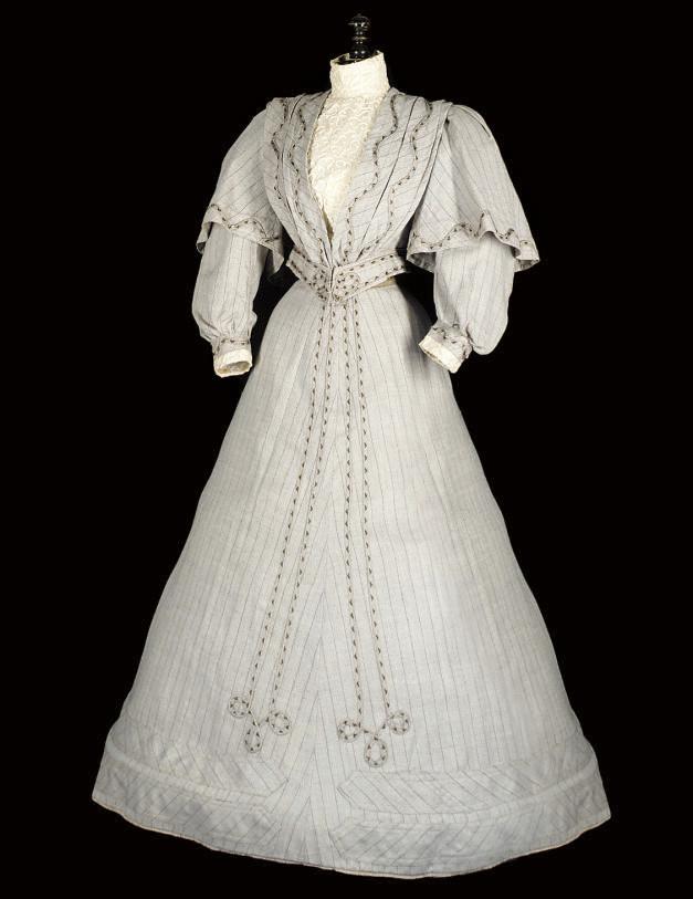 A FAWN TWILL WALKING DRESS