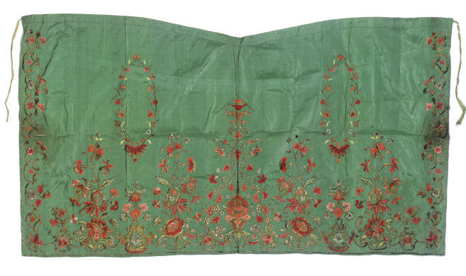 AN EMBROIDERED TURQUOISE SILK