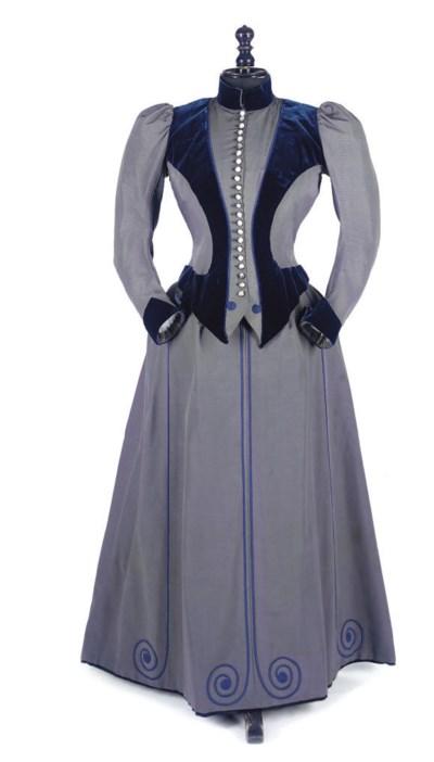A CORDED SILK WALKING DRESS