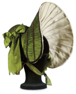 A GREEN SILK BONNET