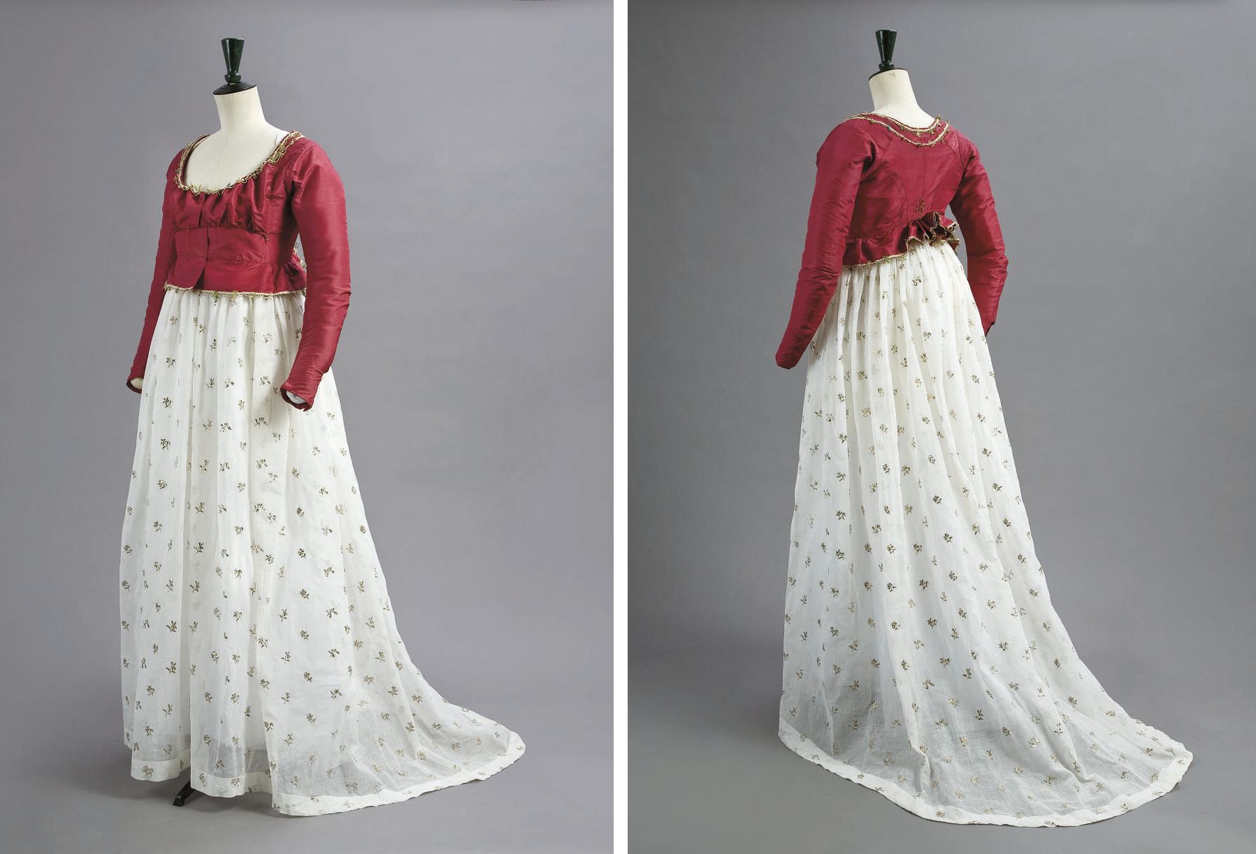A CHERRY RED SILK JACKET AND MUSLIN PETTICOAT