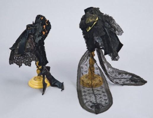 TWO LACE FANCHON MOURNING BONN