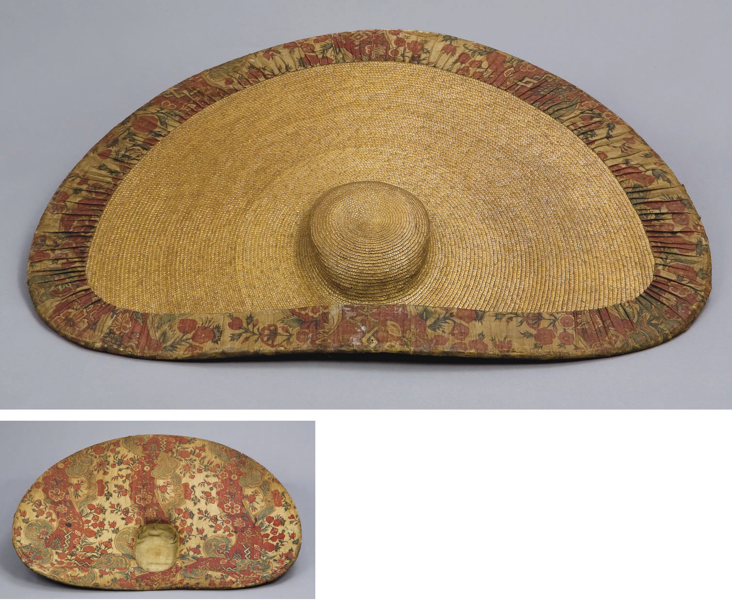 A FINE STRAW AND CHINTZ HAT