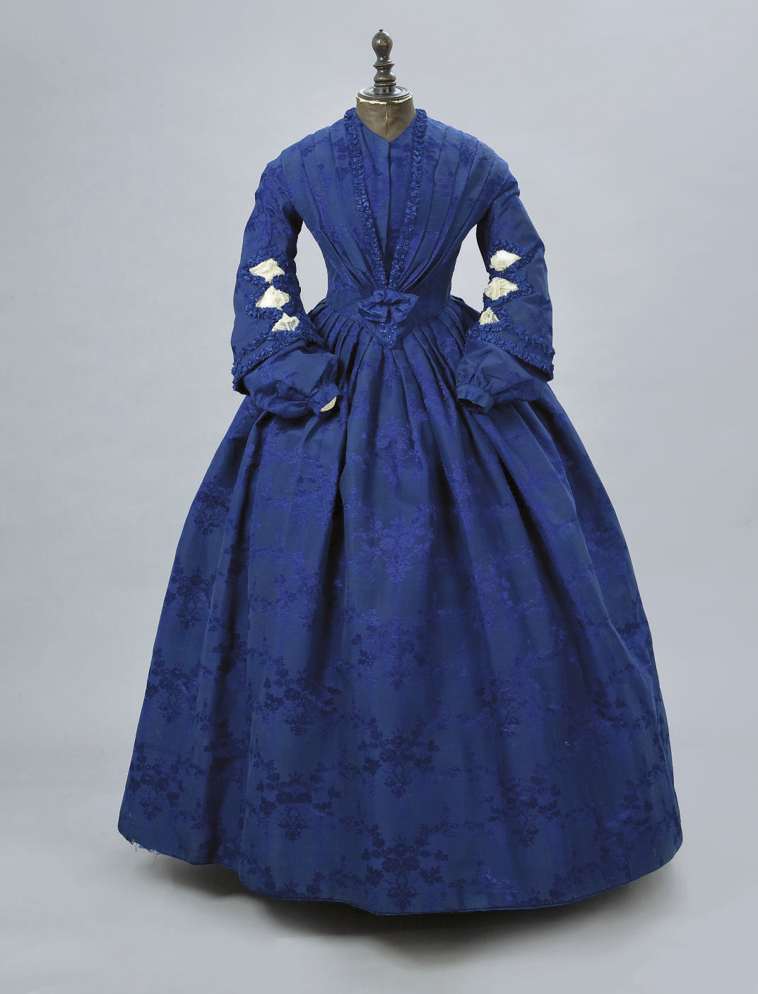 A ROYAL BLUE SILK DAMASK GOWN