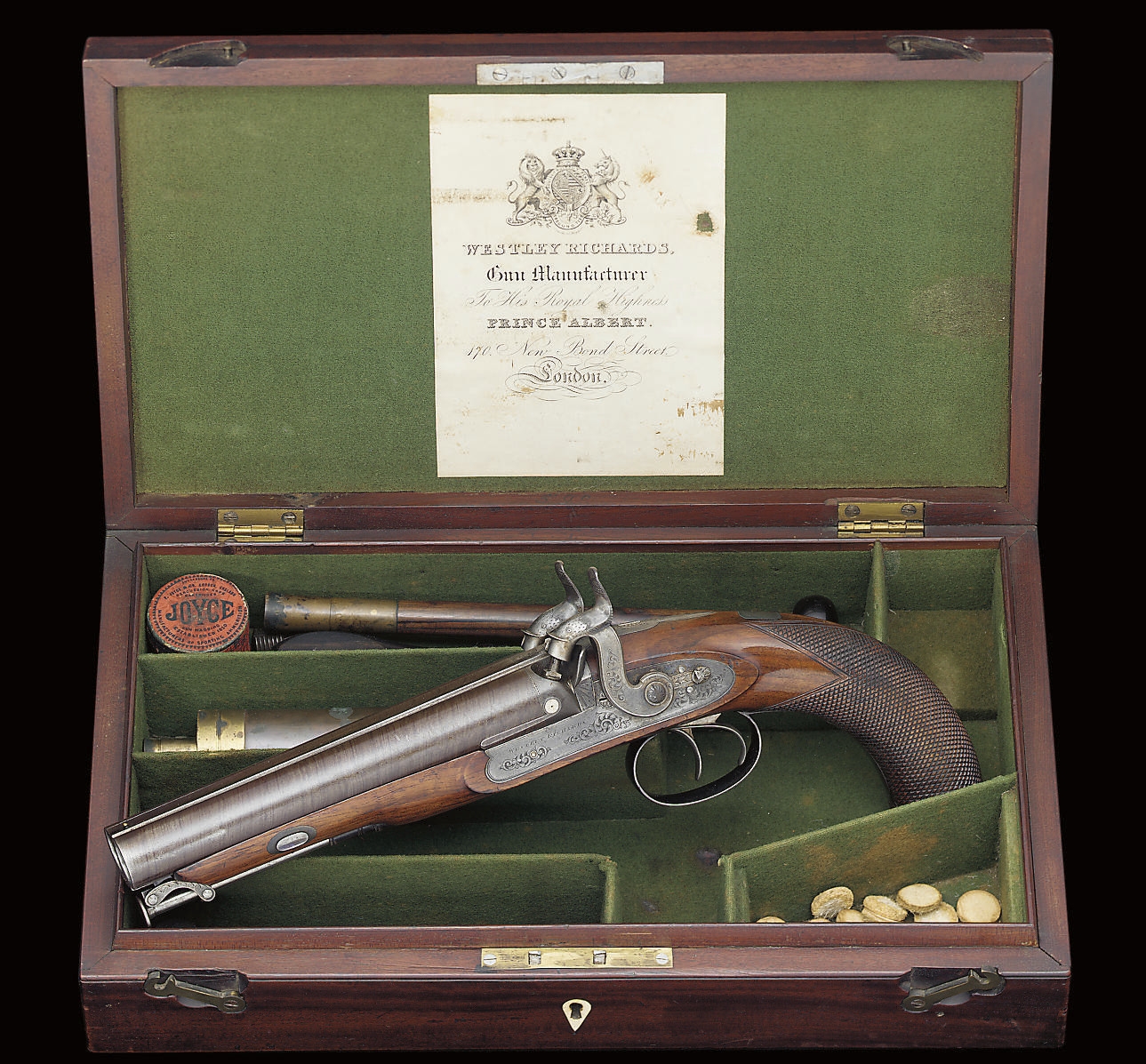 A CASED 18-BORE D B PERCUSSION OFFICER'S OR HOWDAH PISTOL BY WESTLEY