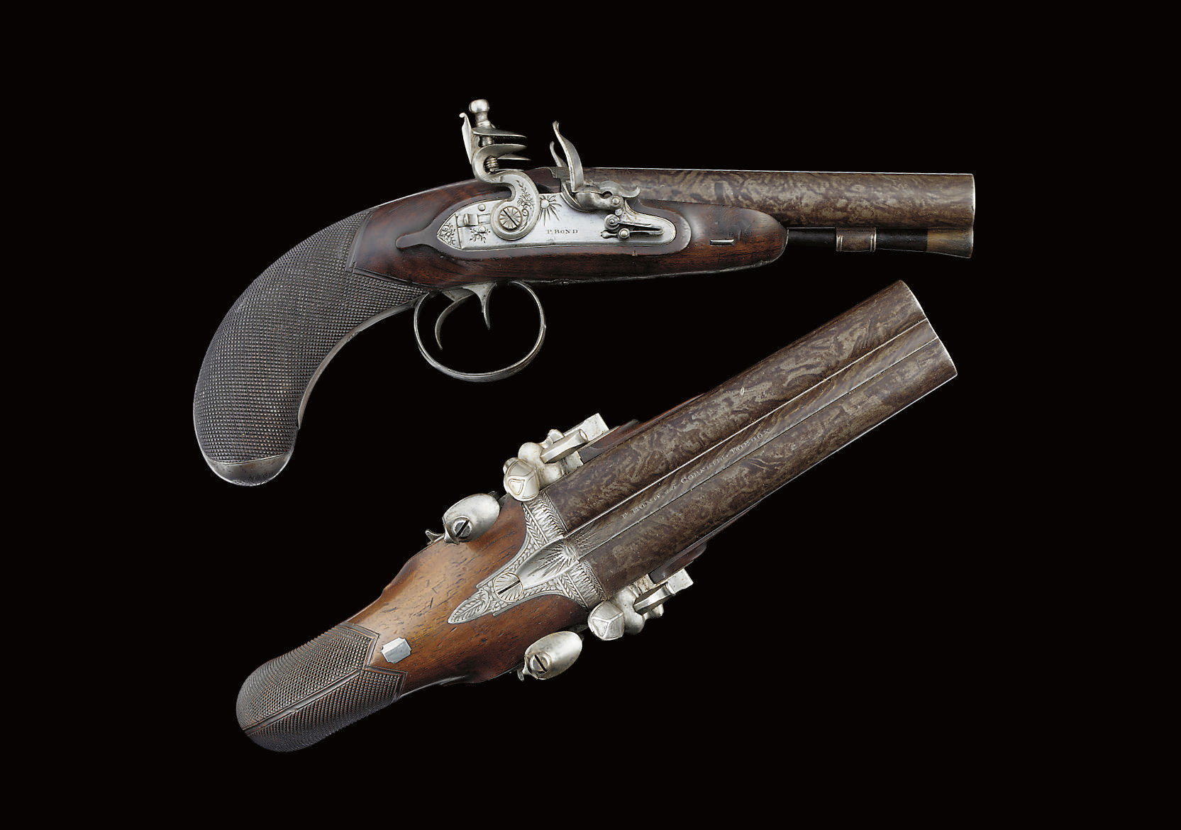 A FINE PAIR OF D.B FLINTLOCK C