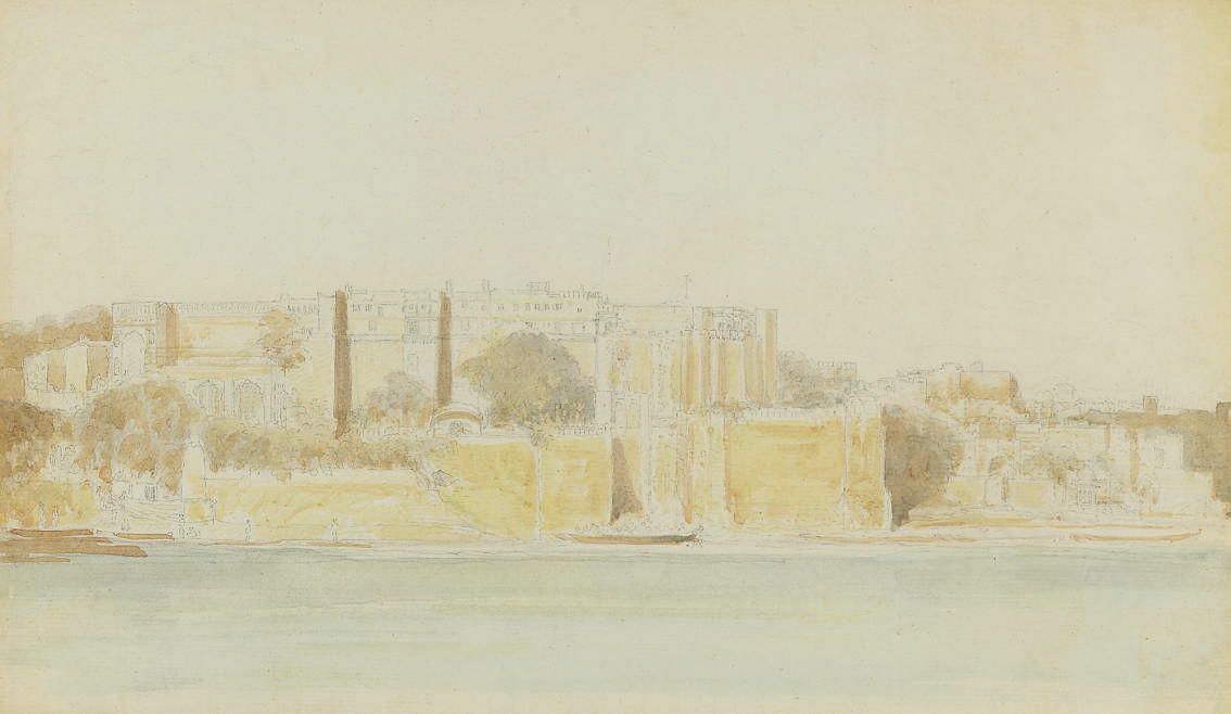 An Indian fortress by a river; and Figures bathing from Ghats