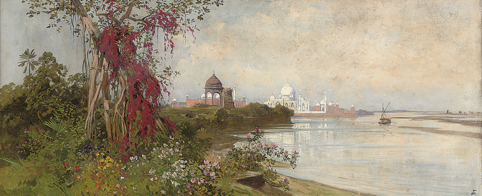 The Taj Mahal from the banks of the Yamuna River