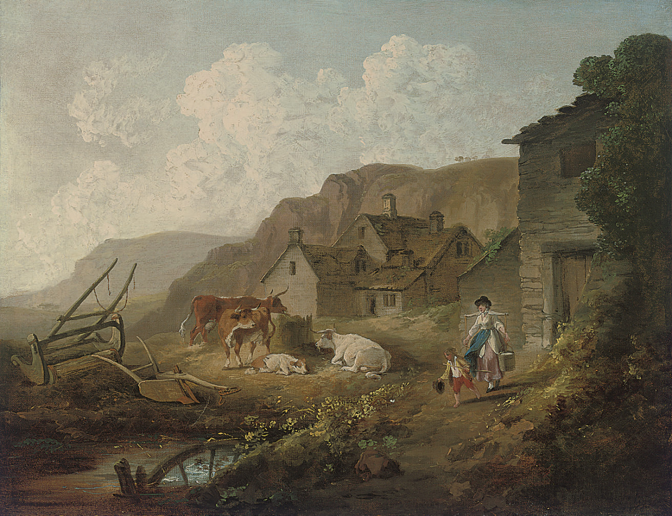 A wooded river landscape with a milkmaid and cattle by a cottage