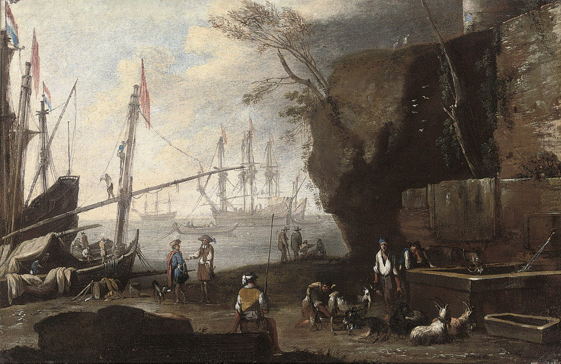 A Mediterranean coastal landscape with figures in the foreground and shipping beyond