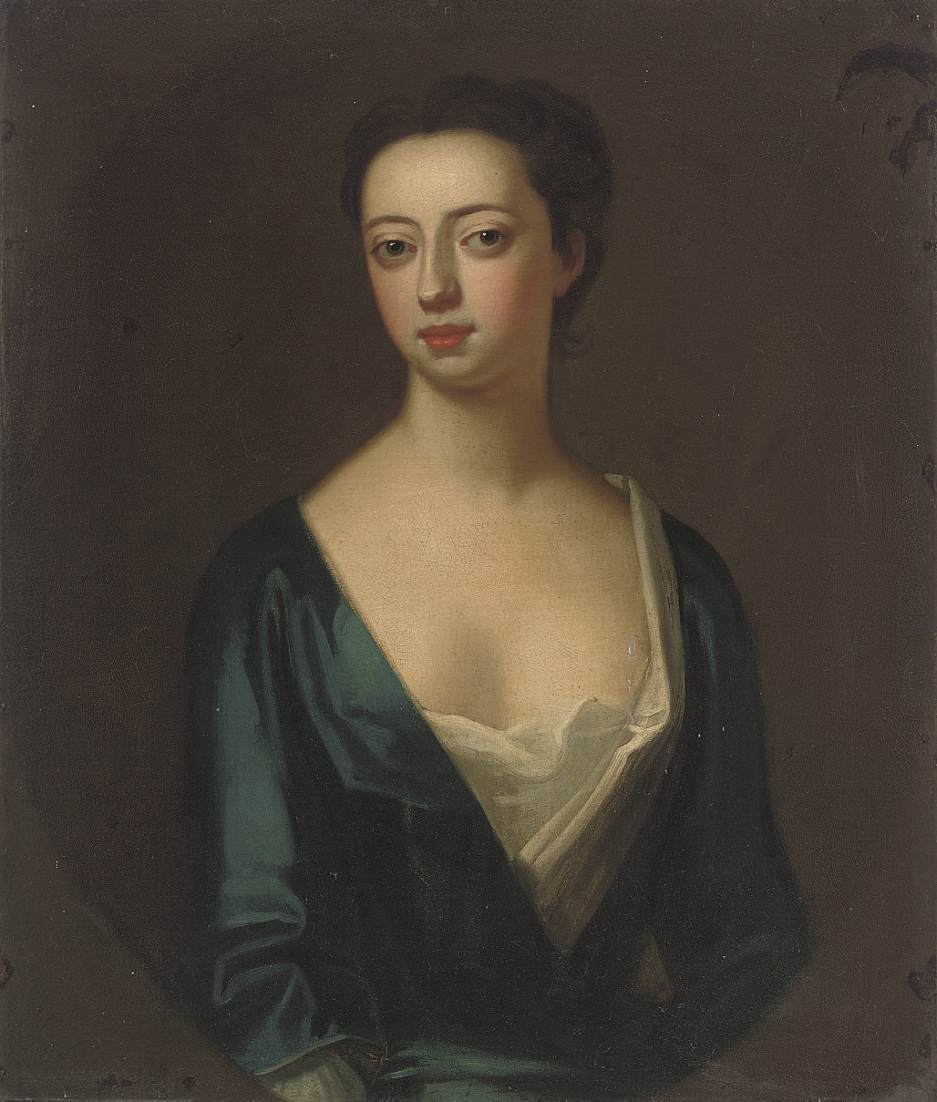 Portrait of a lady, traditionally identified as Elizabeth Greville (d.1699), Lady Guilford, half-length, in a blue dress, in a feigned oval