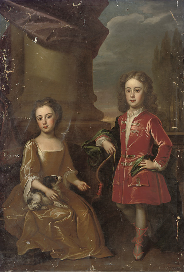Double portrait of Dudley North, with his sister Anne, full-length, the former in a red velvet coat and blue wrap, the latter seated in a yellow dress with a spaniel, a landscape beyond