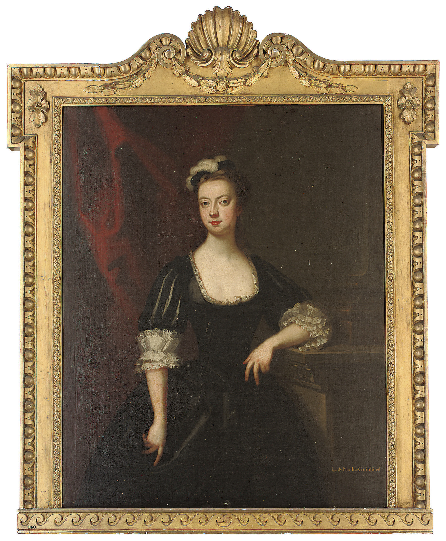 Portrait of Lady Lucy Montagu (d.1734), Countess of Guilford, three-quarter-length, in black classical dress and black plumed cap, her left arm resting on a plinth