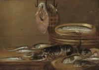 Still life with fish and a lobster on a table