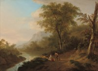 An Italianate river landscape with travellers on a track