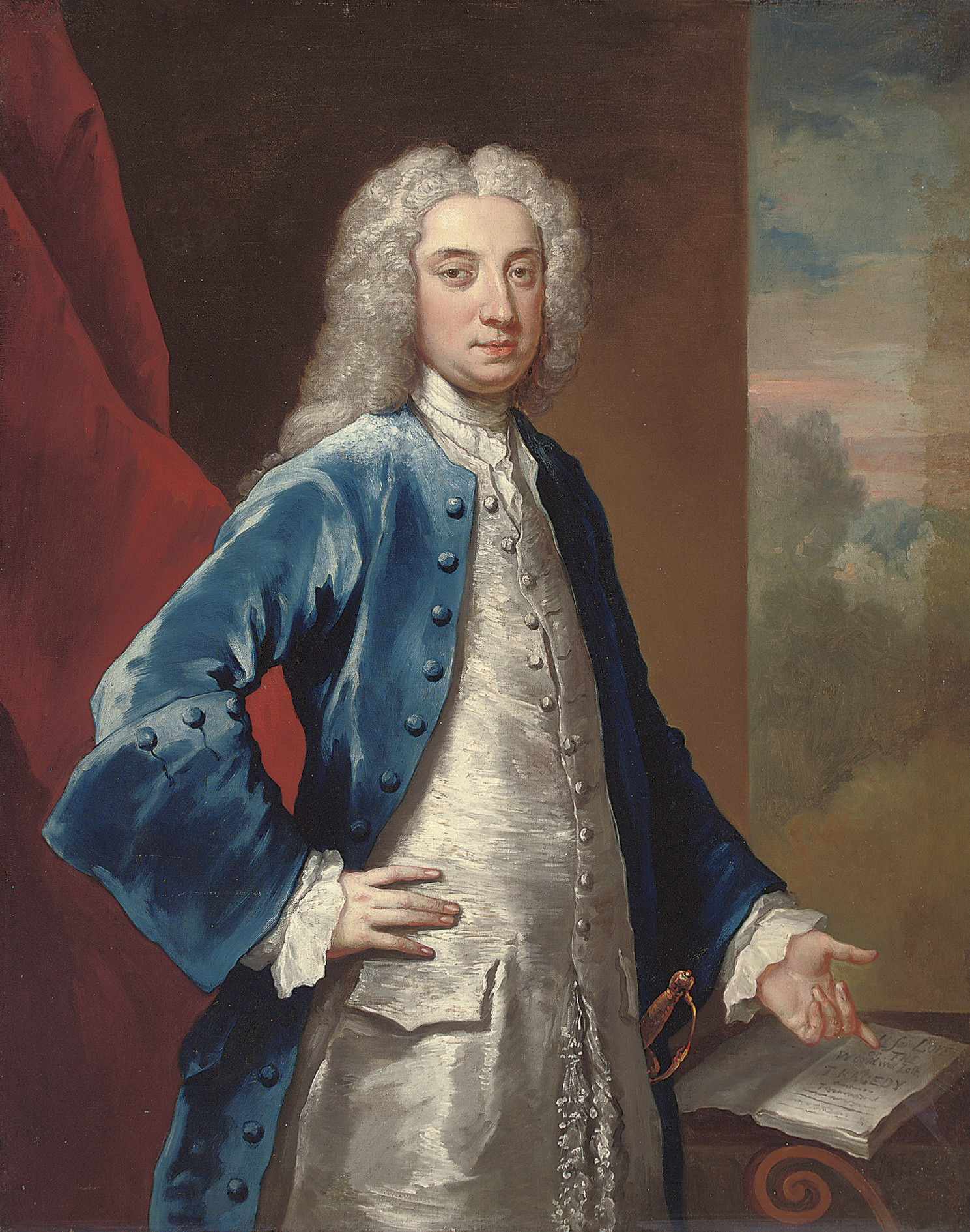 Portrait of a gentleman, three-quarter-length, in a blue coat and oyster satin waistcoat, pointing at a manuscript of Dryden's play All for Love', 1678, a landscape beyond