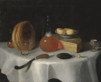 A loaf of bread, a flask of ale, a wedge of cheese, a knife and a pickle on a table