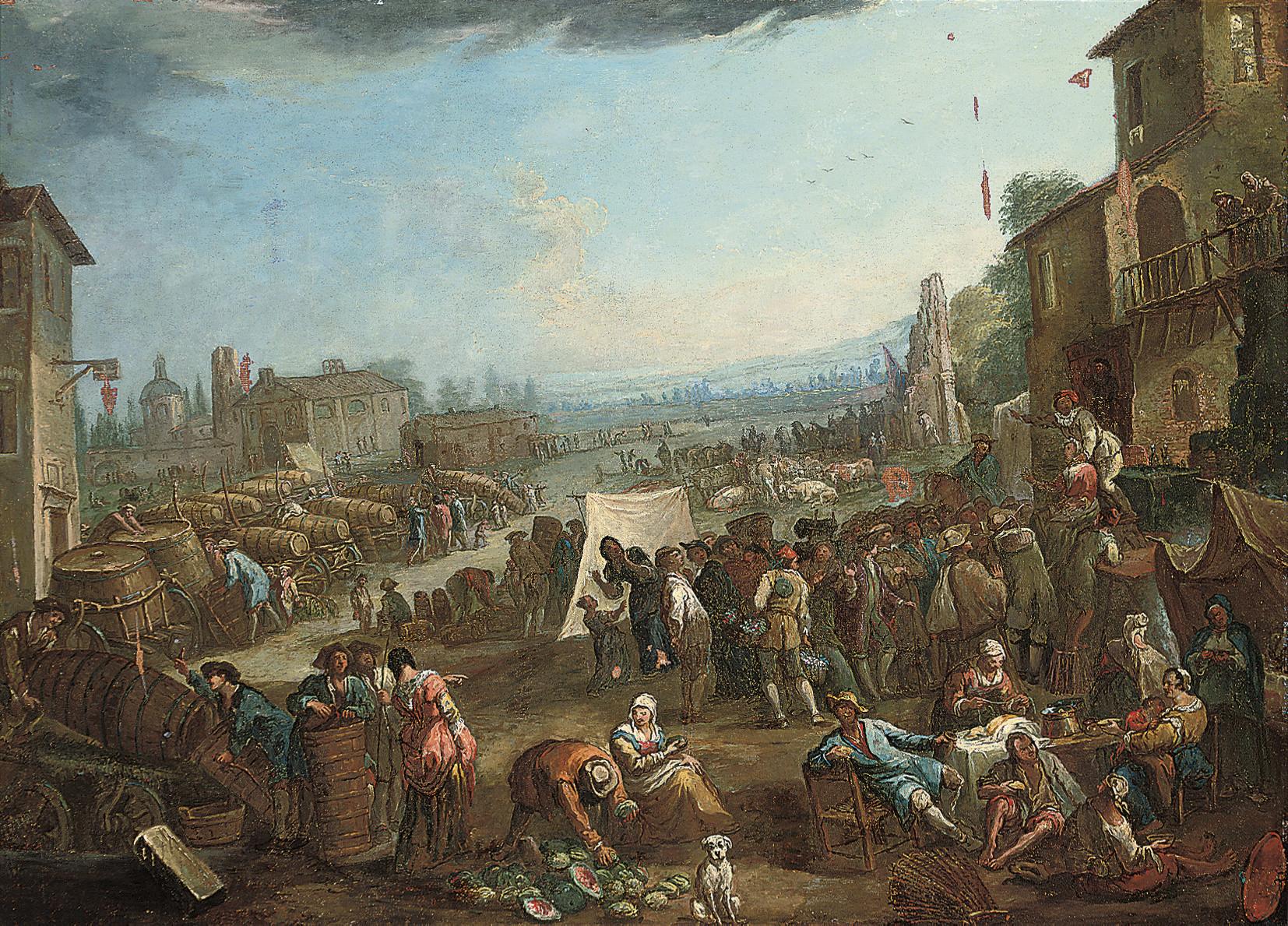 A market in a town, a landscape beyond