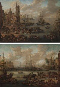 A capriccio of a Mediterranean port with figures in the foreground; and A capriccio of a Mediterranean port with merchants unloading their goods