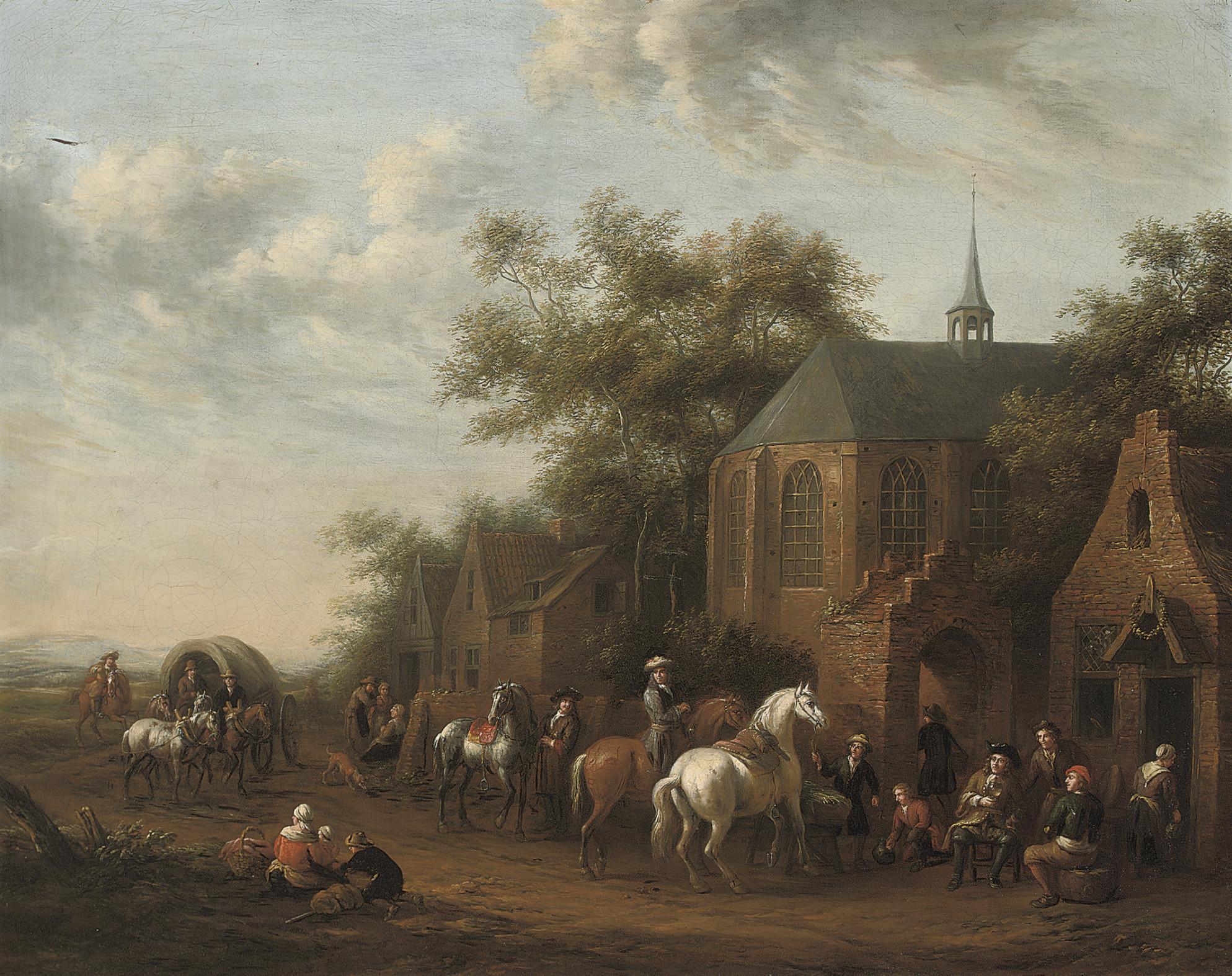 Figures on horseback at rest by an inn