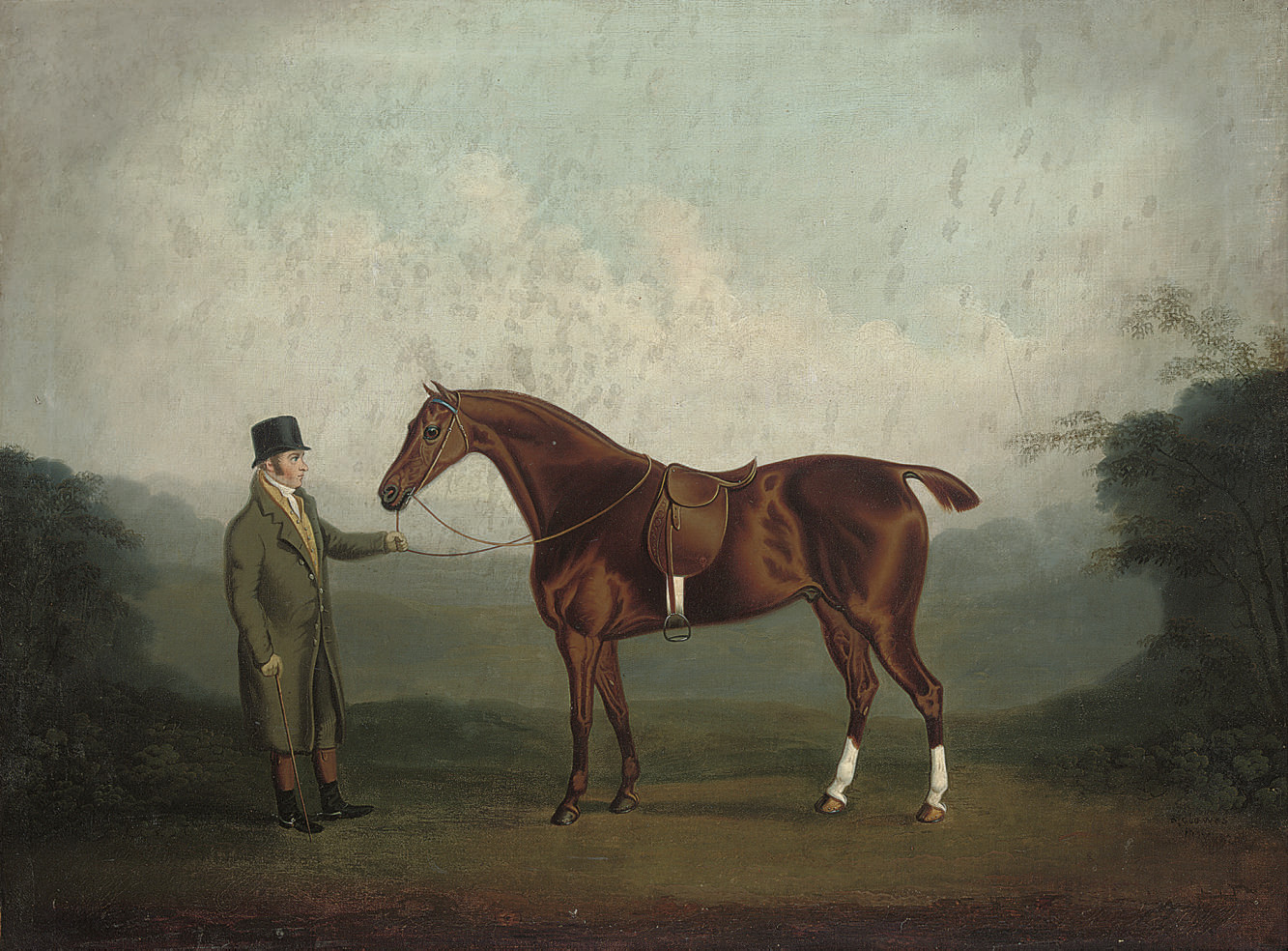 A bay hunter held by a gentleman in a landscape